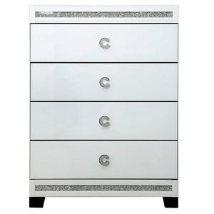 Chanelle White Mirrored 4 Drawer Cabinet