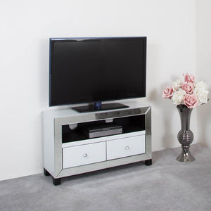 Wilton Mirrored White Entertainment Unit