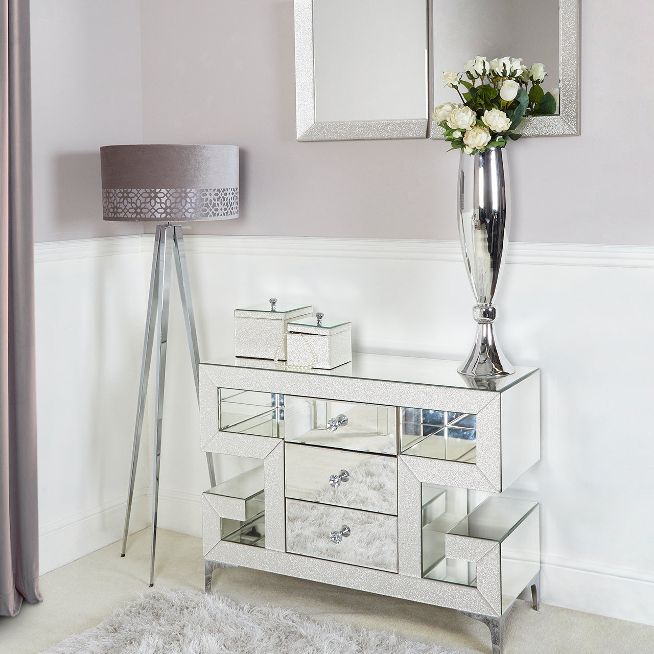 Sparkle Champagne 3 Drawer Cabinet