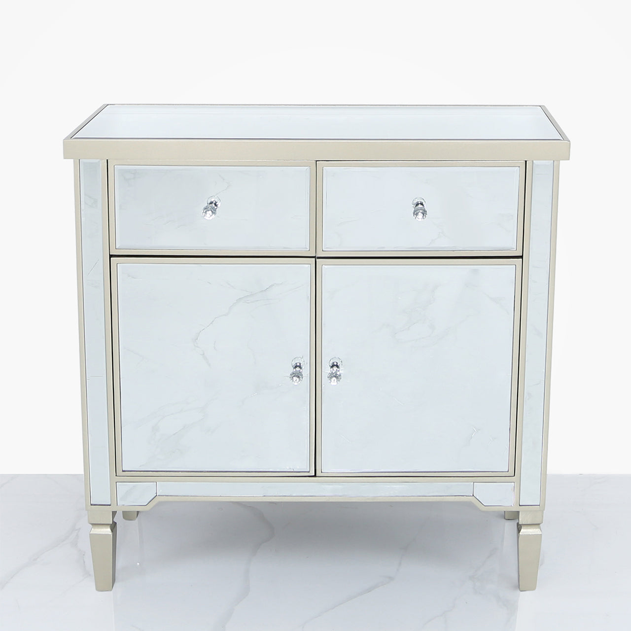 Tiffany Champagne 2 Drawer 2 Door Cabinet