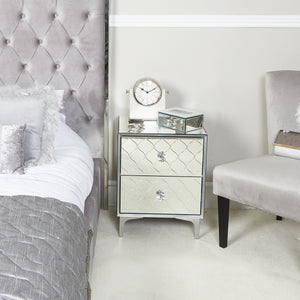 Regency Mirror 2 Draw BedSide Cabinet