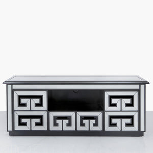 Geometric Mirrored and Black Entertainment Unit