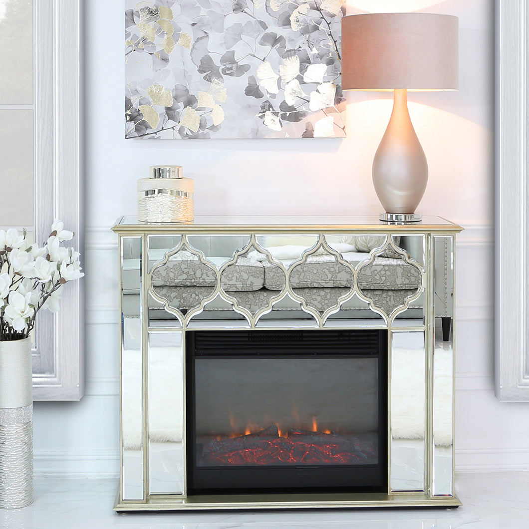 Casablanca Gold Mirrored Fire Surrounds With Electric Fire