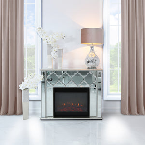 Casablanca Silver Mirrored Fire Surrounds With Electric Fire