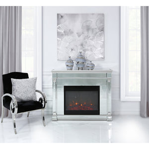 Silver Romano Mirrored Fire Surrounds With Electric Fire