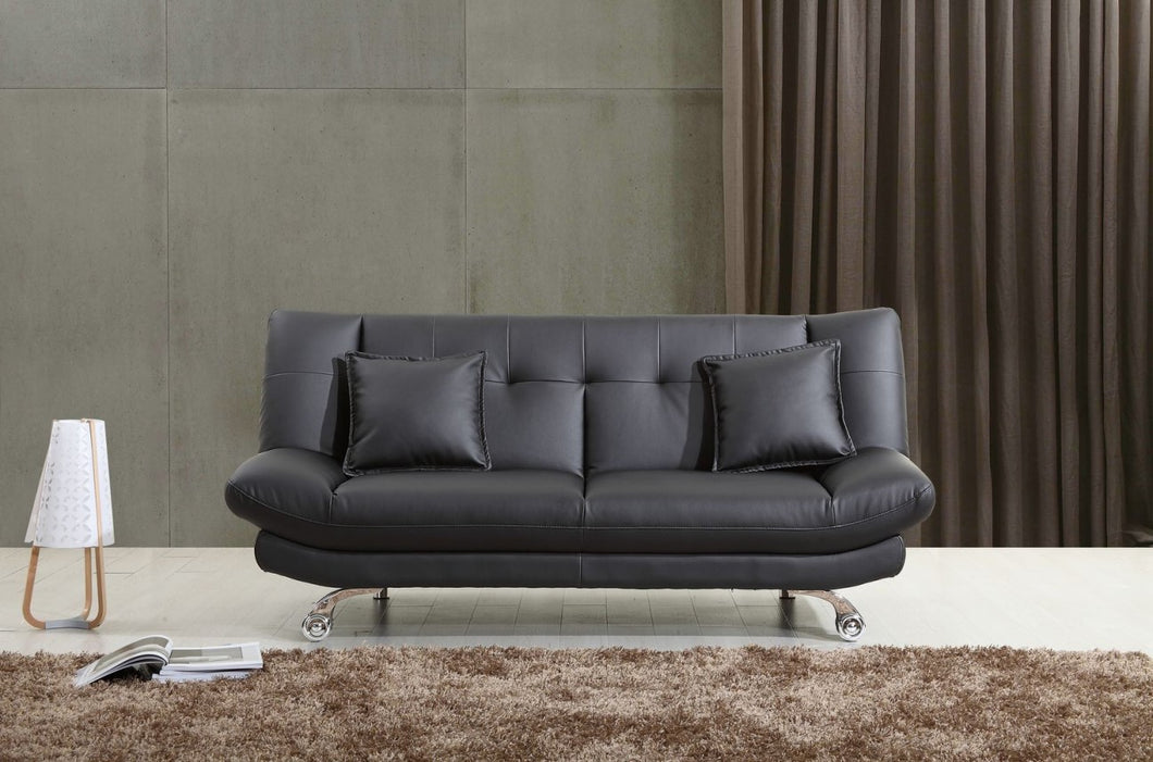 Monroe Sofabed in Bonded Leather & Chrome Legs