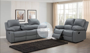 Valencia Grey Leather Recliner Sofa