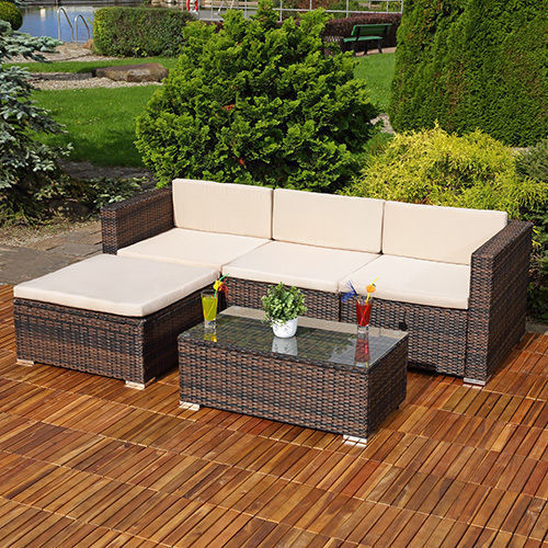RATTAN LOUNGER AND TABLE - BLACK/BROWN