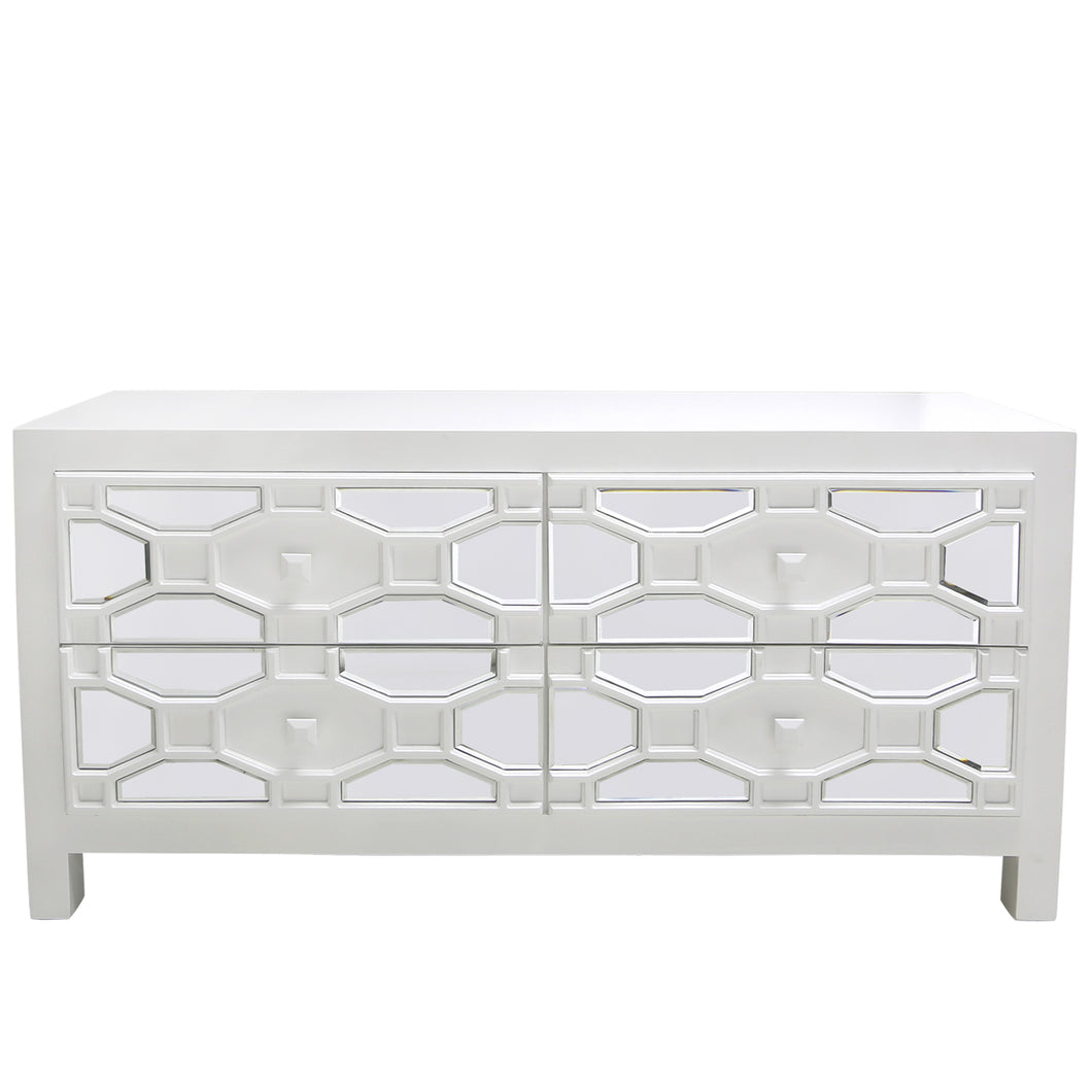 White Geometric Wood Entertainment Unit