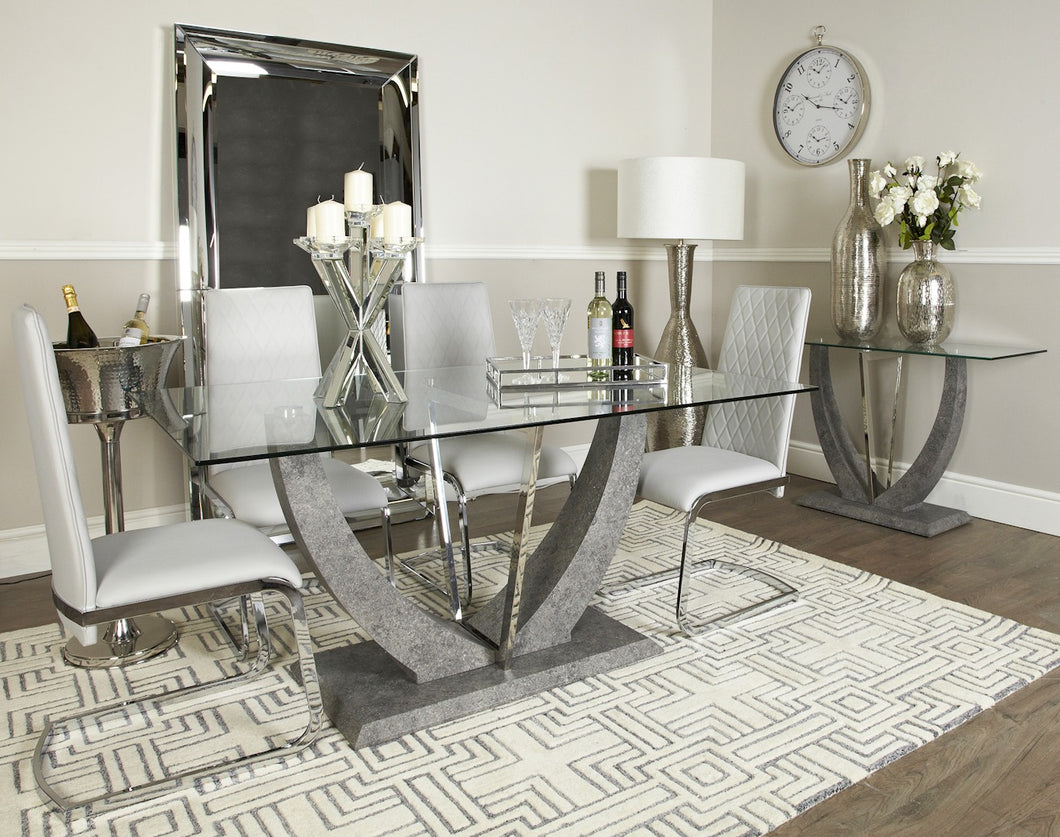 West Dining Table with 6 Dining Chairs