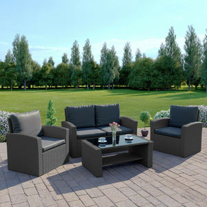 ALGARVE RATTAN GARDEN FURNITURE SET, 4 PIECE CHAIRS SOFA TABLE