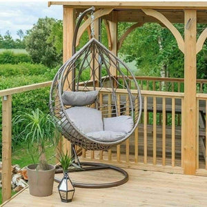 Charlies Garden Wicker Rattan Hanging Egg Chair & Cushions - Natural