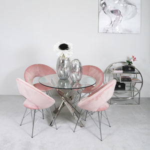 Carter Round Dining Set with 4 Pink Orb Chairs