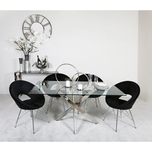 Carter Rectangular Dining Set with 4 Black Orb Chairs