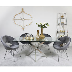 Carter Rectangular Dining Set with 4 Grey Orb Chairs