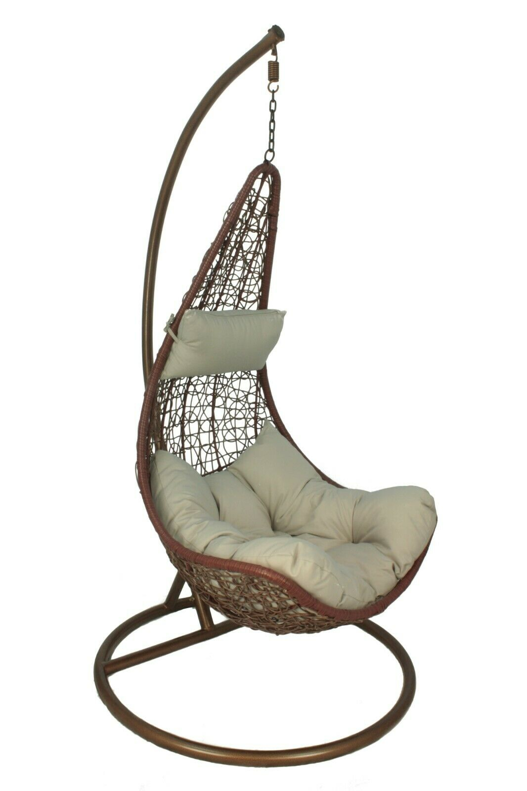 Picture of: Rattan Swing Seat Hanging Chair With Cushion Stand Furnico Living