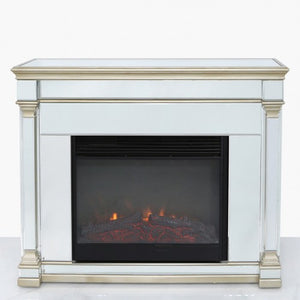 Champagne Romano Mirrored Fire Surrounds With Electric Fire