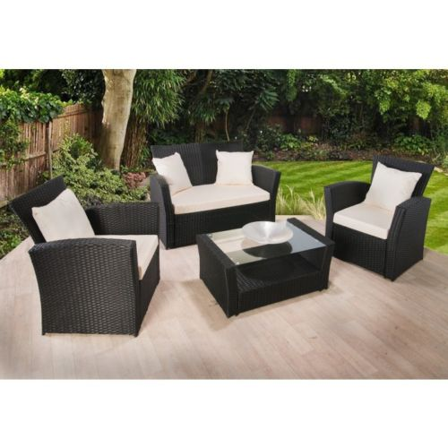 HARVARD RATTAN GARDEN FURNITURE SET, 4 PIECE CHAIRS SOFA TABLE