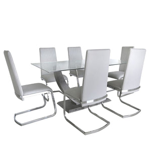 Virgo Light Grey Chrome Dining Chair