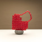 Heart On Your Sleeve Beaded Bag- Ruby