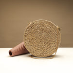 Benett Small Round Handwoven Basket Bag
