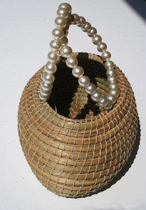 Rose Basket Bag with Pearl Handles