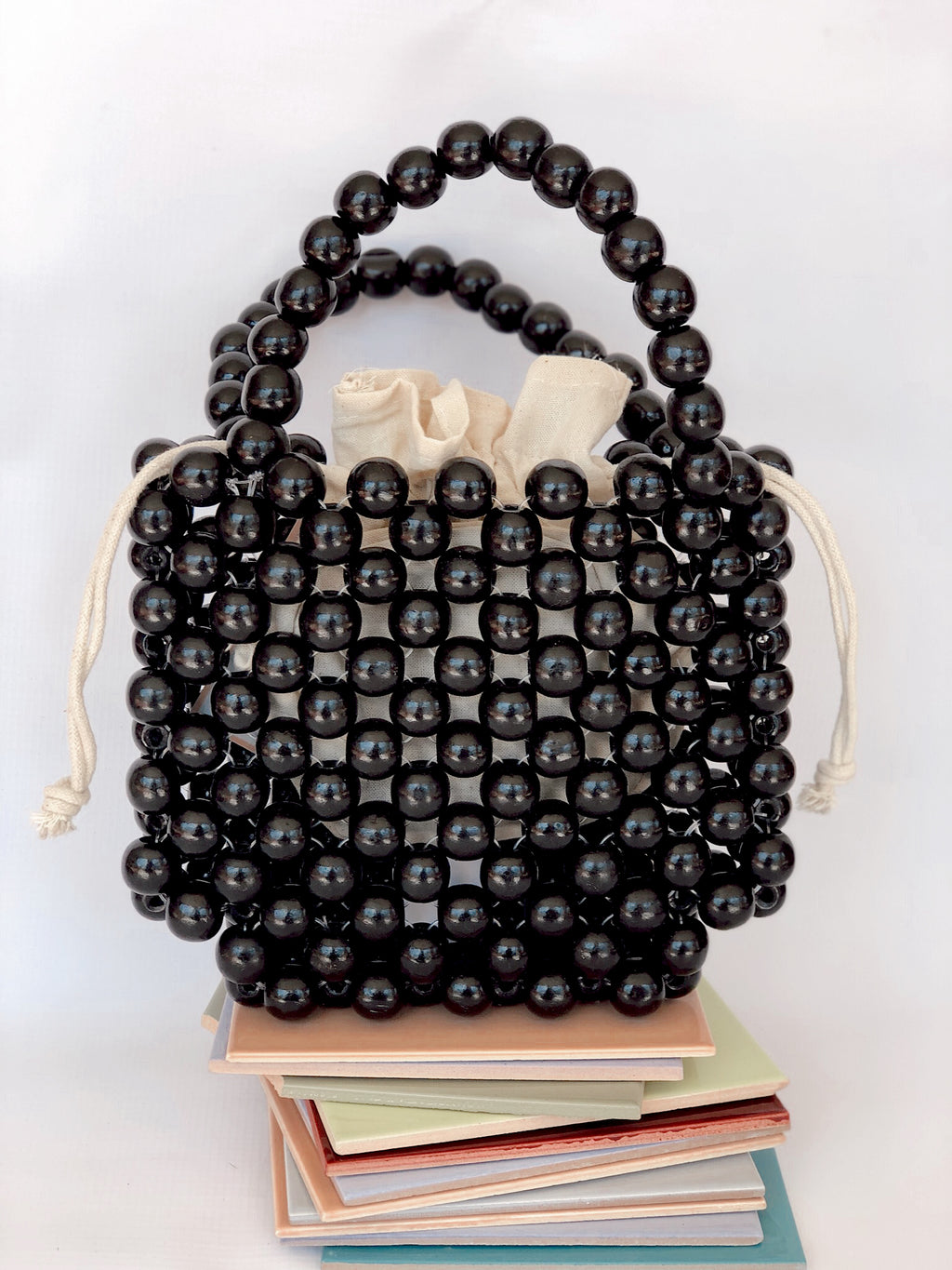 Black Magic Twin Handle Beaded Bag