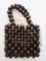 Large Beaded Wooden Twin Handle Bag