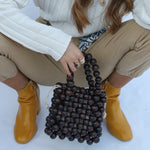 Large Wooden Beaded Twin Handle Bag