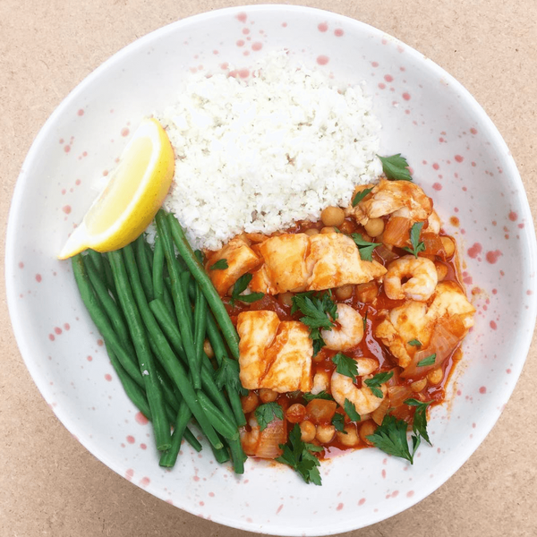 Spanish Fish Stew with Green Beans and Cauliflower Couscous