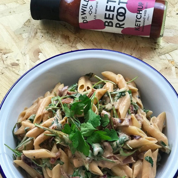 Creamy Goat's Cheese and Beetroot Penne