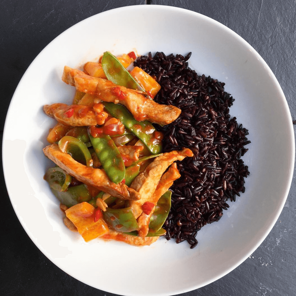 Sweet and Sour Pork with Black Rice