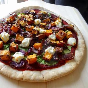 Sweet Potato, Caramelised Onion and Goats Cheese Beet-za