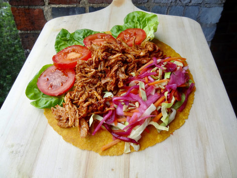 BBQ pulled pork and rainbow slaw sweet potato wrap