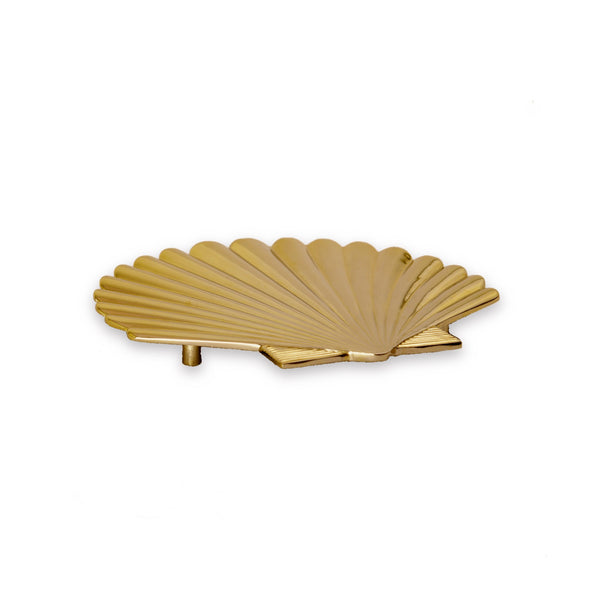 Art Deco Seashell Metal Trivet / Dish Stand in Gold 1 BHK Interiors