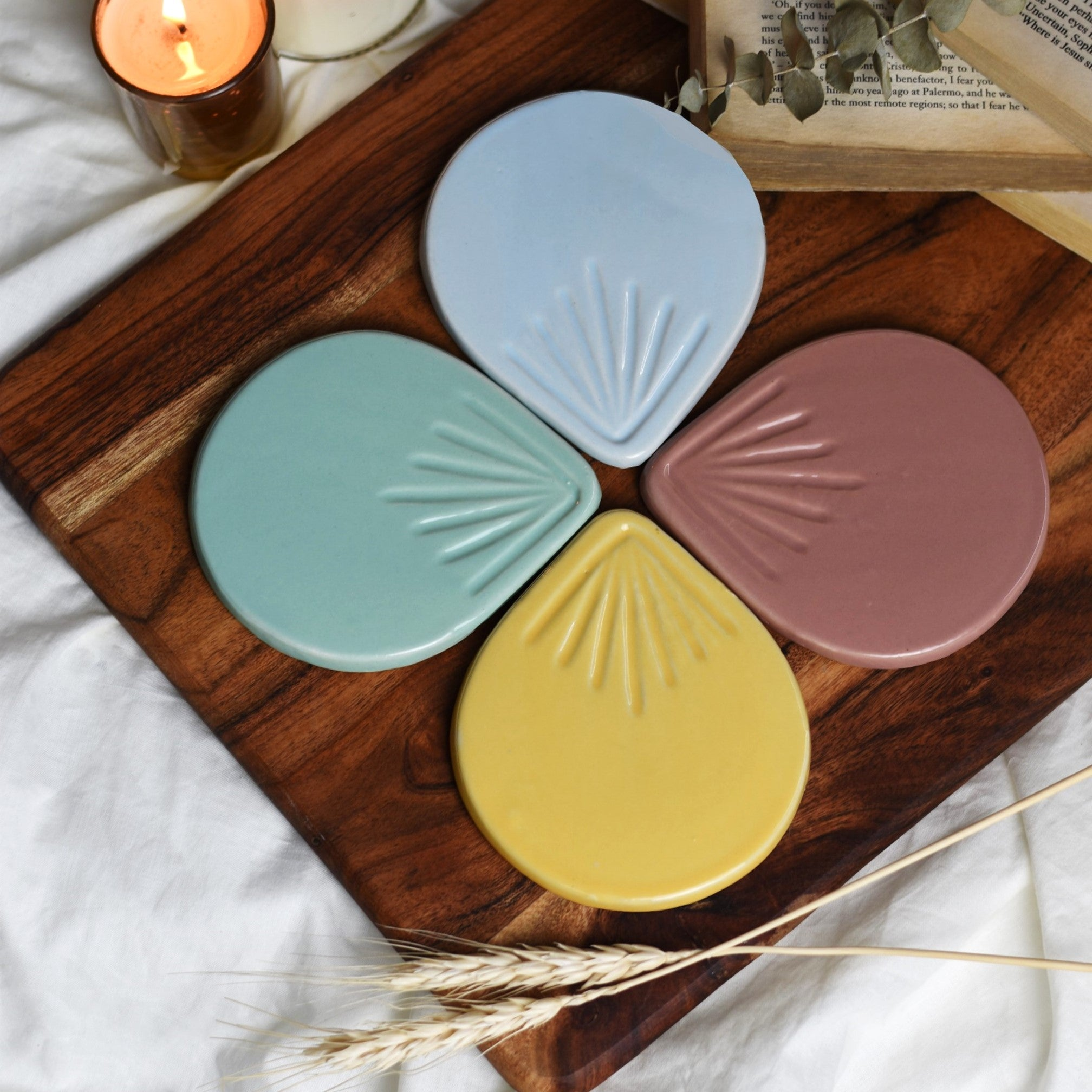 Etched Raindrop Ceramic Coasters - Set of 4 Glossy Pastel Colours 1 BHK Interiors