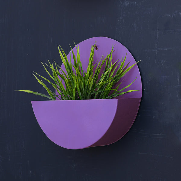 """Lunar"" Hanging Metal Mounted Wall Planter / Letter Box in 4 Colours"