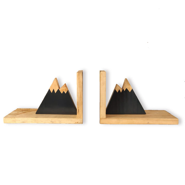 """Snowy Peaks"" Wooden Bookends 1 BHK Interiors"