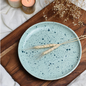 Splatter Print Organic Shape Ceramic Salad Plate in Mint Green 1 BHK Interiors
