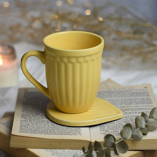 Vintage Look Grooved Ceramic Mug - Choose from 4 Colours 1 BHK Interiors
