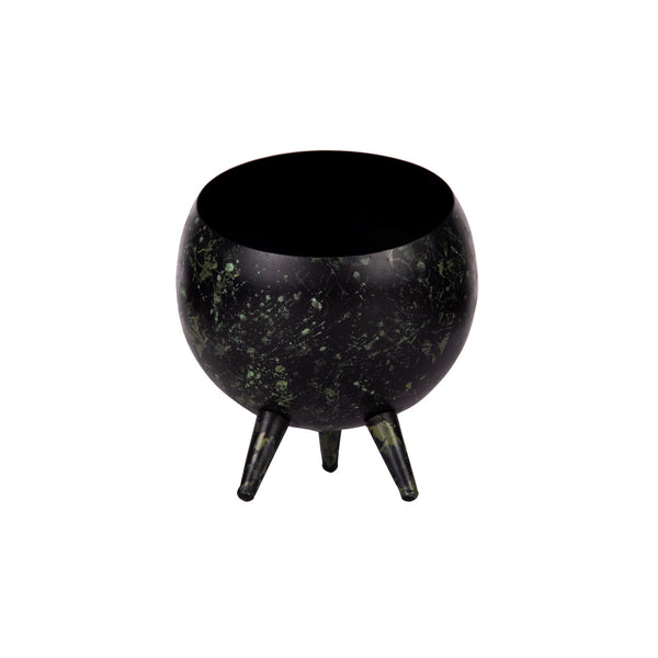 3 Legged Alien Table Top Metal Planter in Black & Green Space Print 1 BHK Interiors