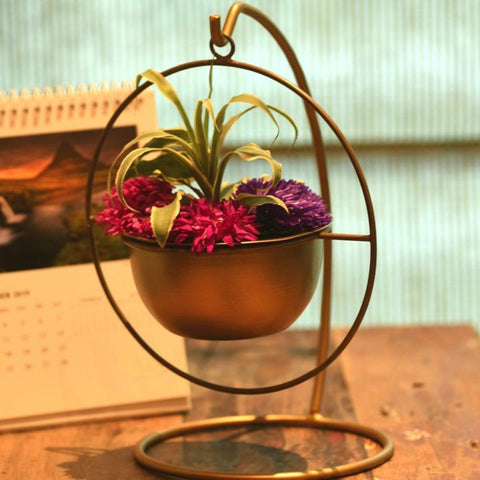 "1 BHK Interiors ""Bow Down Mister"" Table Top Stand with Hanging Planter in Gold"
