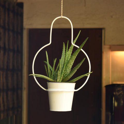 1 BHK Interiors Bulb Shaped Metal Hanging Planter in White 1
