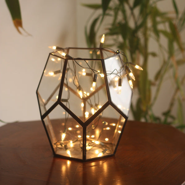 "1 BHK Interiors ""Cobweb"" Metal & Glass Terrarium Candle Holder / Planter in Gold Finish"