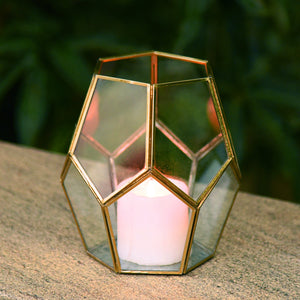 """Cobweb"" Metal & Glass Terrarium Candle Holder / Planter in Gold Finish"