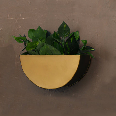 1 BHK Interiors Crescent Metal Mounted Wall Planter in Antique Gold