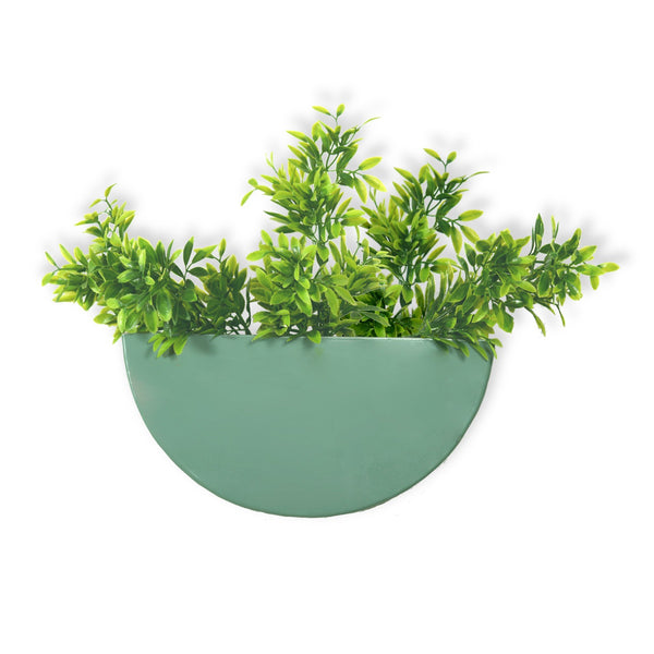 1 BHK Interiors Crescent Metal Mounted Wall Planter in Fern Green