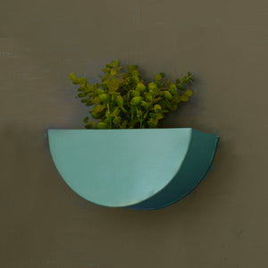 Crescent Metal Mounted Wall Planter in Fern Green 1 BHK Interiors
