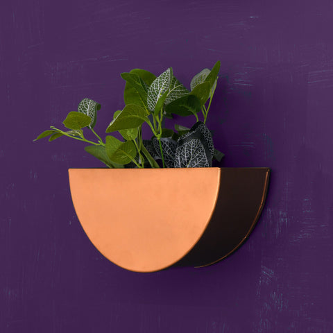 Crescent Metal Mounted Wall Planter in Rose Gold 1 BHK Interiors