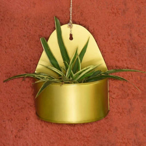 Curved Hanging Metal Mounted Wall Planter / Letter Box in Matte Gold Finish 1 BHK Interiors